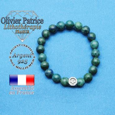 bracelet cube croix en argent 925 et sa pierre naturelle en azurite malachite