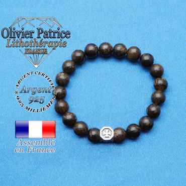 bracelet cube croix en argent 925 et sa pierre naturelle en bronzite