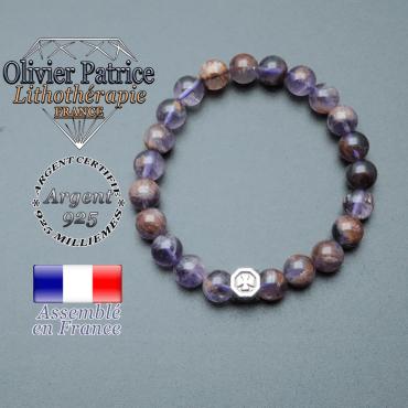 bracelet cube croix en argent 925 et sa pierre naturelle en cacoxenite