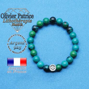 bracelet cube croix en argent 925 et sa pierre naturelle en chrysocolle