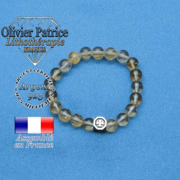 bracelet cube croix en argent 925 et sa pierre naturelle en citrine