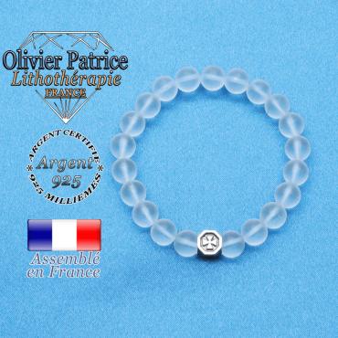 bracelet cube croix en argent 925 et sa pierre naturelle en cristal de roche mat
