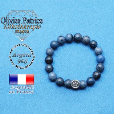 bracelet cube croix en argent 925 et sa pierre naturelle en dumortierite