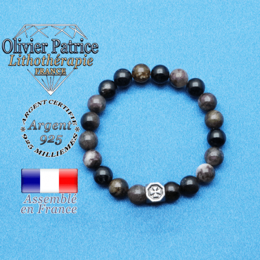 bracelet cube croix en argent 925 et sa pierre naturelle en tourmaline elbaite