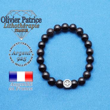 bracelet cube croix en argent 925 et sa pierre naturelle en grenat