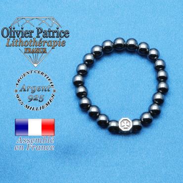 bracelet cube croix en argent 925 et sa pierre naturelle en hematite