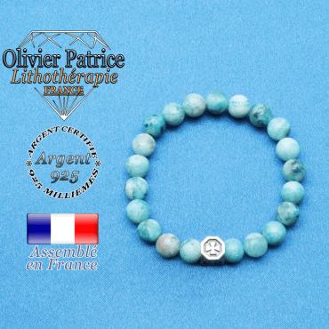 bracelet cube croix en argent 925 et sa pierre naturelle en hemimorphite