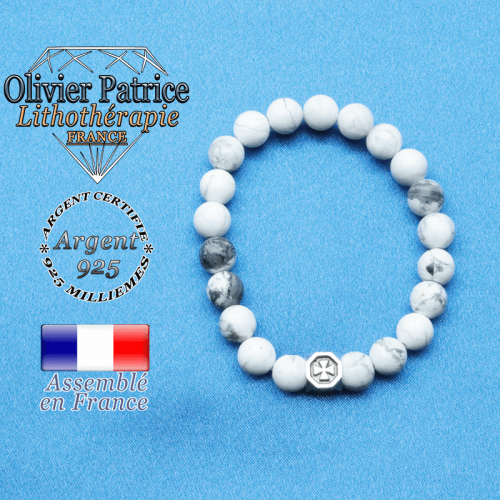 bracelet cube croix en argent 925 et sa pierre naturelle en howlite