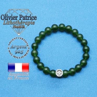 bracelet cube croix en argent 925 et sa pierre naturelle en jade de taiwan