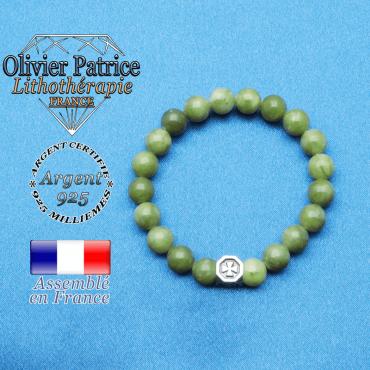 bracelet cube croix en argent 925 et sa pierre naturelle en jade nephrite