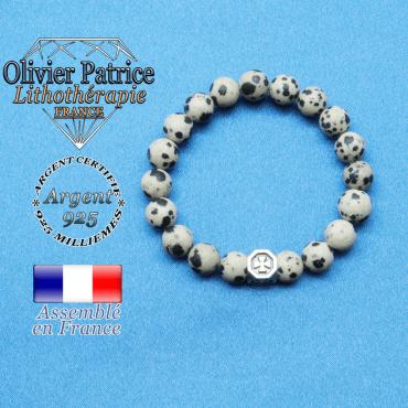 bracelet cube croix en argent 925 et sa pierre naturelle en jaspe dalmatien