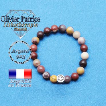 bracelet cube croix en argent 925 et sa pierre naturelle en mokaite