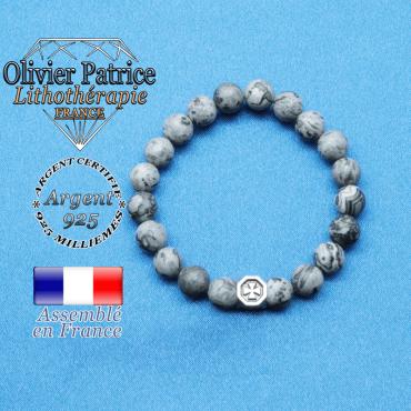 bracelet cube croix en argent 925 et sa pierre naturelle en jaspe crazy lace gris