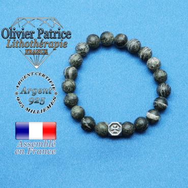 bracelet cube croix en argent 925 et sa pierre naturelle en jaspe vert zebre