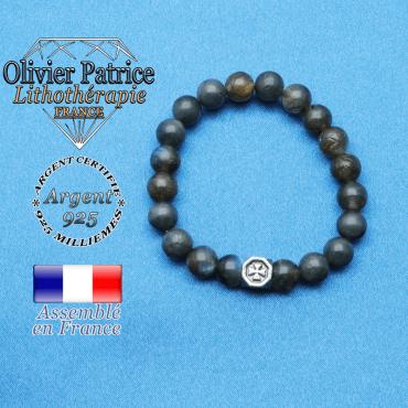 bracelet cube croix en argent 925 et sa pierre naturelle en labradorite