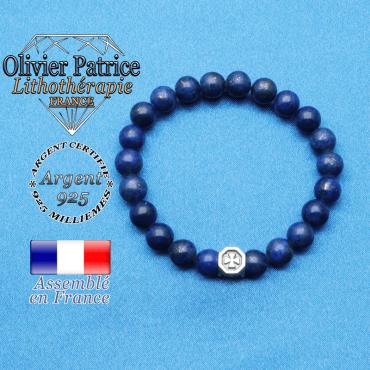 bracelet cube croix en argent 925 et sa pierre naturelle en lapis lazuli
