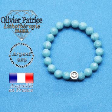 bracelet cube croix en argent 925 et sa pierre naturelle en larimar