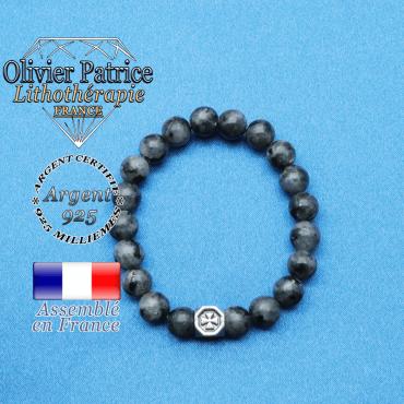 bracelet cube croix en argent 925 et sa pierre naturelle en larvikite