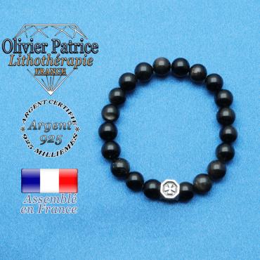 bracelet cube croix en argent 925 et sa pierre naturelle en obsidienne doré