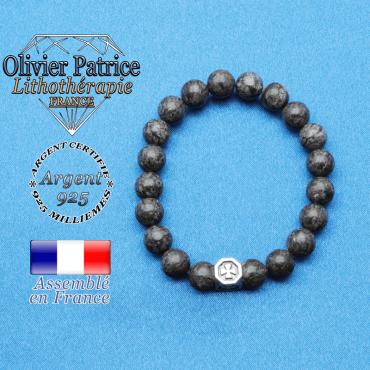 bracelet cube croix en argent 925 et sa pierre naturelle en obsidienne neige brune