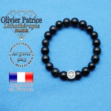 bracelet cube croix en argent 925 et sa pierre naturelle en obsidienne oeil celeste