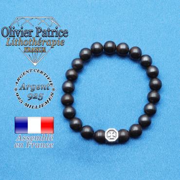 bracelet cube croix en argent 925 et sa pierre naturelle en oeil de fer
