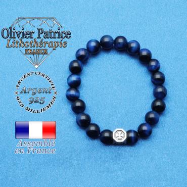 bracelet cube croix en argent 925 et sa pierre naturelle en oeil de tigre teinte bleu
