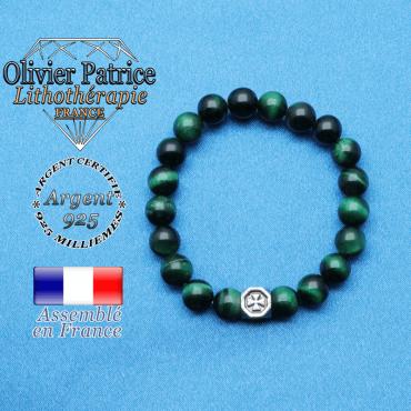bracelet cube croix en argent 925 et sa pierre naturelle en oeil de tigre teinte vert