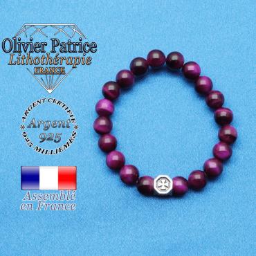 bracelet cube croix en argent 925 et sa pierre naturelle en oeil de tigre teinte violette