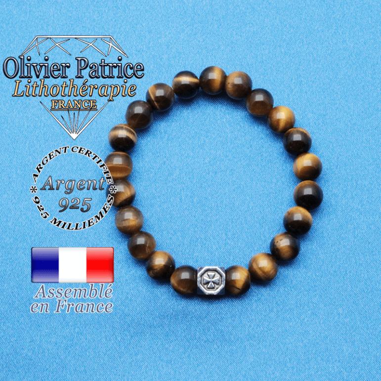 Bracelet oeil de tigre et cube croix en argent 925