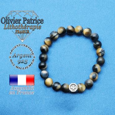 Bracelet Œil de faucon - tigre bleu et cube croix en argent 925