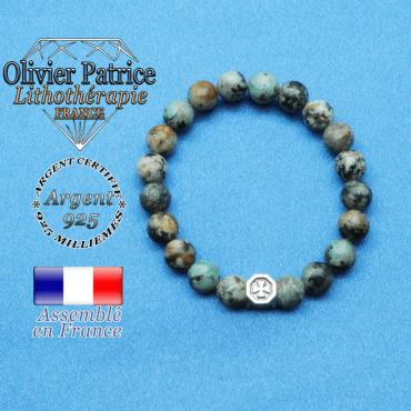 bracelet cube croix en argent 925 et sa pierre naturelle en turquoise bleu africaine