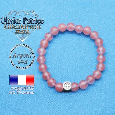 bracelet cube croix en argent 925 et sa pierre naturelle en tourmaline rose pastèque