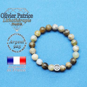 bracelet cube croix en argent 925 et sa pierre naturelle en opale jaune africaine