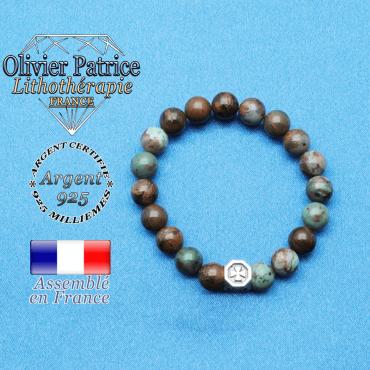 bracelet cube croix en argent 925 et sa pierre naturelle en opale verte africaine