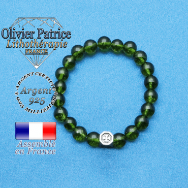 bracelet cube croix en argent 925 et sa pierre naturelle en peridot