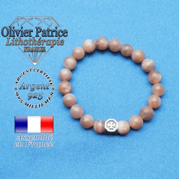bracelet cube croix en argent 925 et sa pierre naturelle en pierre de soleil