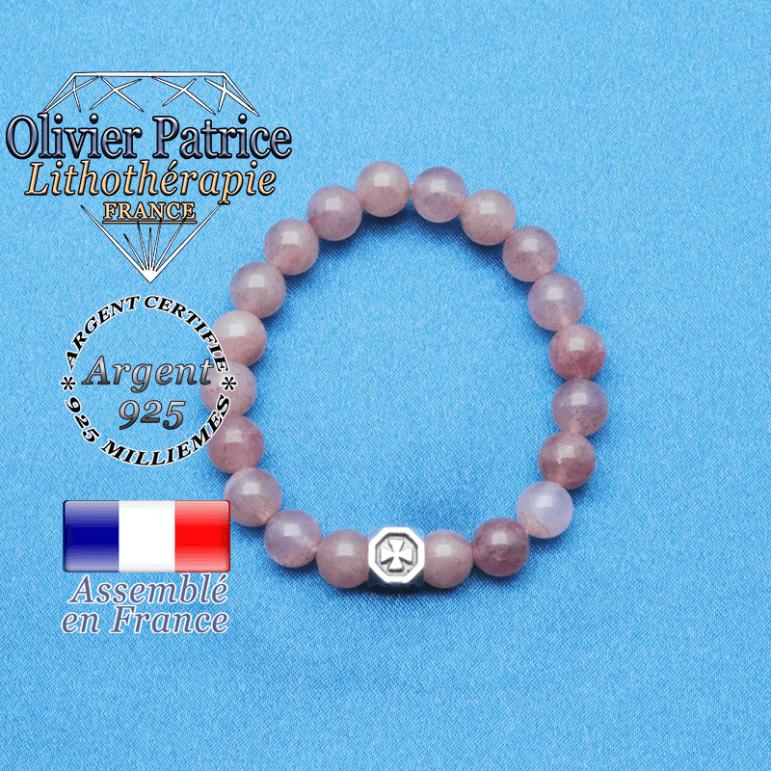 bracelet cube croix en argent 925 et sa pierre naturelle en quartz fraise lépidocrocite