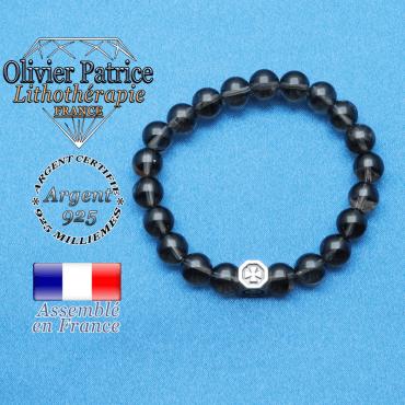bracelet cube croix en argent 925 et sa pierre naturelle en quartz fume