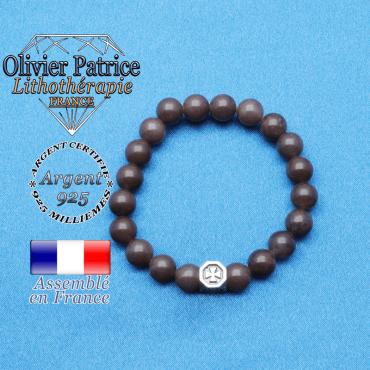 bracelet cube croix en argent 925 et sa pierre naturelle en quartz vin