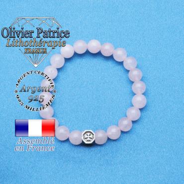 bracelet cube croix en argent 925 et sa pierre naturelle en quartz rose