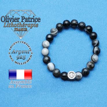 bracelet cube croix en argent 925 et sa pierre naturelle en sardonyx