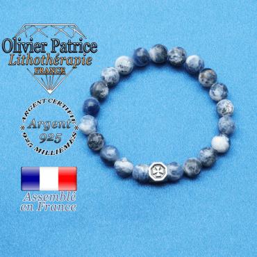 bracelet cube croix en argent 925 et sa pierre naturelle en sodalite