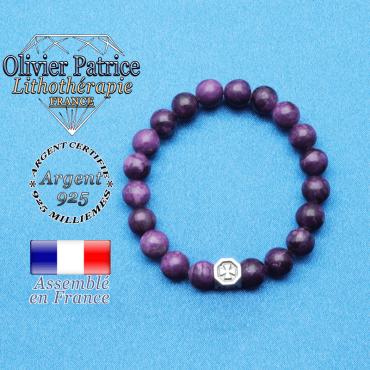 bracelet cube croix en argent 925 et sa pierre naturelle en sugilite