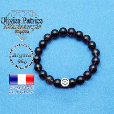bracelet cube croix en argent 925 et sa pierre naturelle en tourmaline melon d'eau