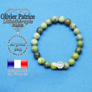 bracelet cube croix en argent 925 et sa pierre naturelle en truquoise africaine