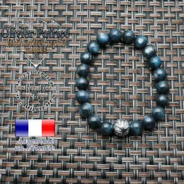 Bracelet avec sa boule feuille graveen argent 925 et ses pierres naturelles en cyanite ou kyanite