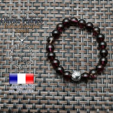 Bracelet avec sa boule feuille graveen argent 925 et ses pierres naturelles en tourmaline melon d'eau