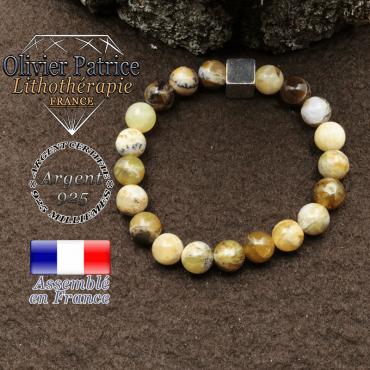 Bracelet opale jaune africaine et petit cube 8 mm en argent 925