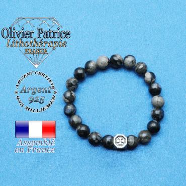 Bracelet opale grise et cube croix en argent 925